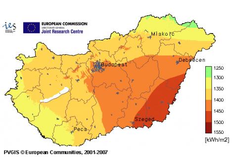 hol napsütéses órák száma magyarországon